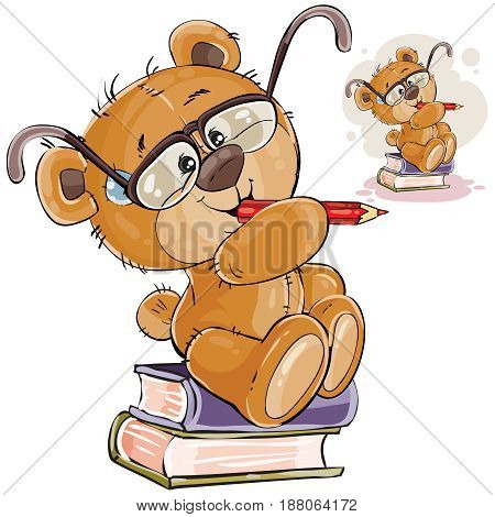 Vector illustration of a brown teddy bear with eyeglasses sits on a pile of books with a pencil in his paws and thinks, Print, template, design element