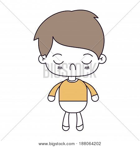 silhouette color sections and light brown hair of kawaii little boy with facial expression disgust with closed eyes vector illustration
