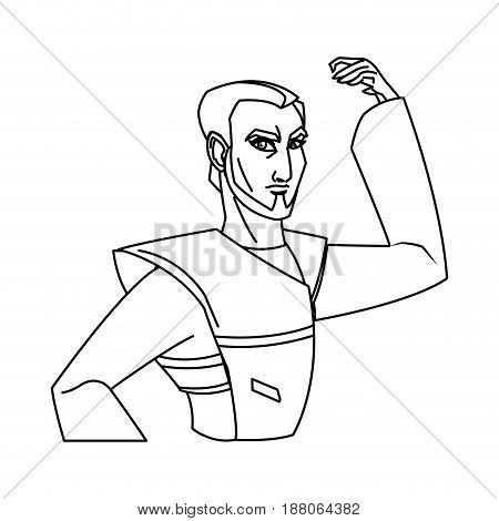 animation asian man to ancient clothes. vector illustration