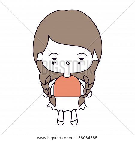 silhouette color sections and light brown hair of kawaii little girl with braided hair and facial expression depressed vector illustration