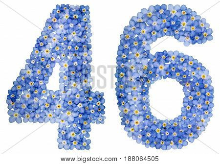 Arabic Numeral 46, Forty Six, From Blue Forget-me-not Flowers