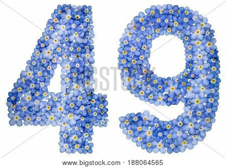 Arabic Numeral 49, Forty Nine, From Blue Forget-me-not Flowers