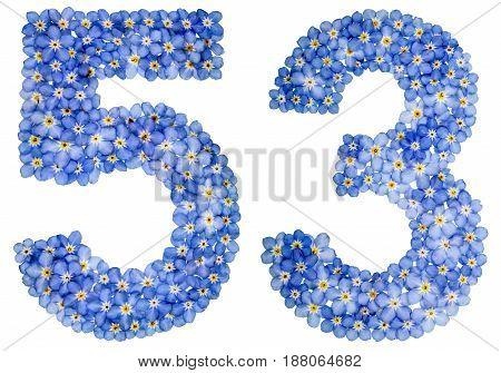 Arabic Numeral 53, Fifty Three, From Blue Forget-me-not Flowers