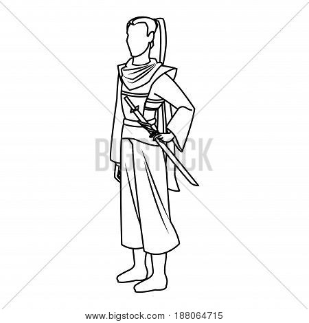 animation asian man long hair to ancient clothes. vector illustration