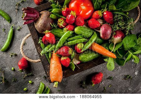 Fresh Vegetables, Berries, Greens And Fruits In Tray