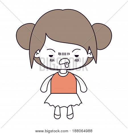 silhouette color sections and light brown hair of kawaii little girl with collected hair and facial expression unsavory vector illustration