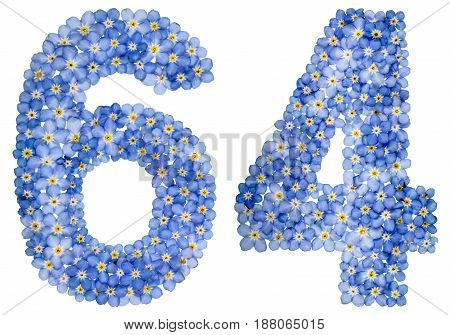 Arabic Numeral 64, Sixty Four, From Blue Forget-me-not Flowers