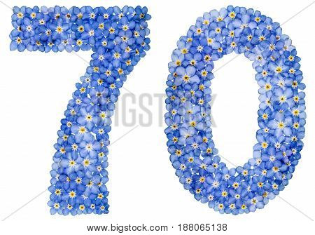 Arabic Numeral 70, Seventy, From Blue Forget-me-not Flowers