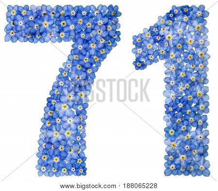 Arabic Numeral 71, Seventy One, From Blue Forget-me-not Flowers