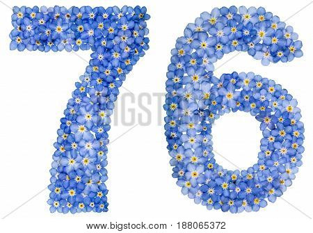 Arabic Numeral 76, Seventy Six, From Blue Forget-me-not Flowers