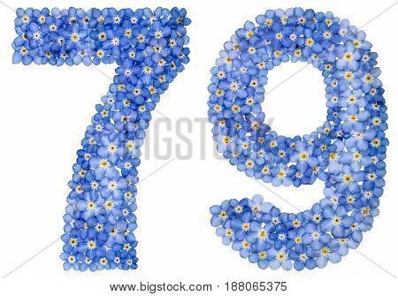 Arabic Numeral 79, Seventy Nine, From Blue Forget-me-not Flowers