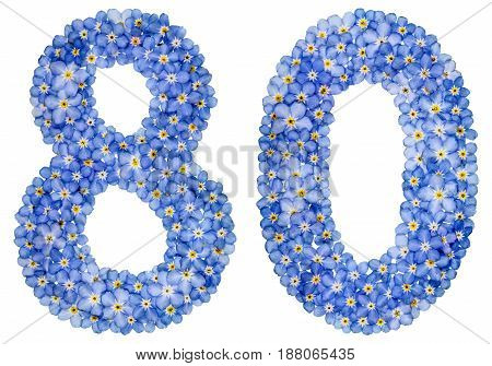 Arabic Numeral 80, Eighty, From Blue Forget-me-not Flowers