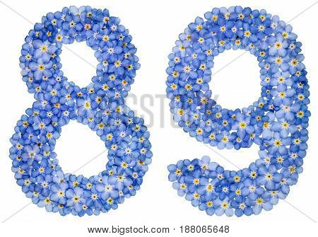 Arabic Numeral 89, Eighty Nine, From Blue Forget-me-not Flowers