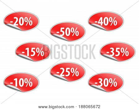 Vector illustration of discount labels. This is eps10 file.