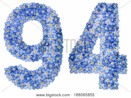 Arabic Numeral 94, Ninety Four, From Blue Forget-me-not Flowers
