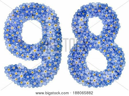 Arabic Numeral 98, Ninety Eigh, From Blue Forget-me-not Flowers
