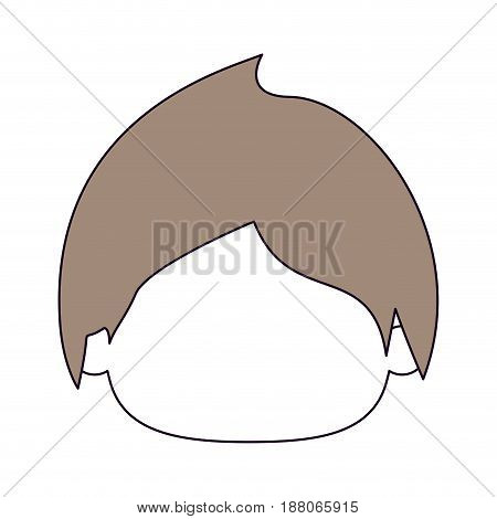 silhouette color sections and light brown hair of faceless head of little kid with short wavy hair vector illustration
