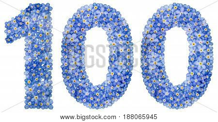 Arabic Numeral 100, One Hundred, From Blue Forget-me-not Flowers