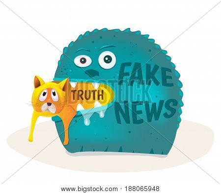 Fake news devours truth. Vector illustration concept.