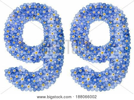 Arabic Numeral 99, Ninety Nine, From Blue Forget-me-not Flowers