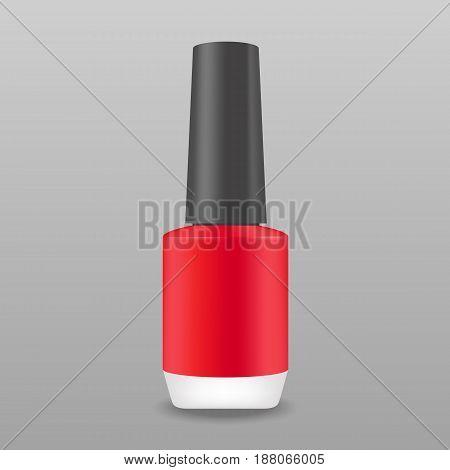 Red color realistic nail polish bottle vector mockup