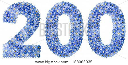 Arabic Numeral 200, Two Hundred, From Blue Forget-me-not Flowers
