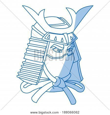 samurai head with helmet warrior icon vector illustration