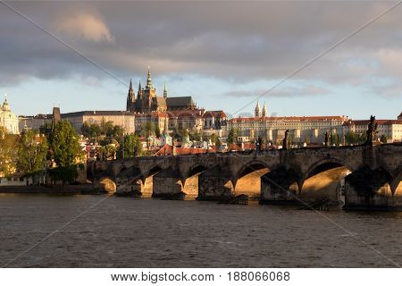 Prague Castle And Charles Bridge In The Morning