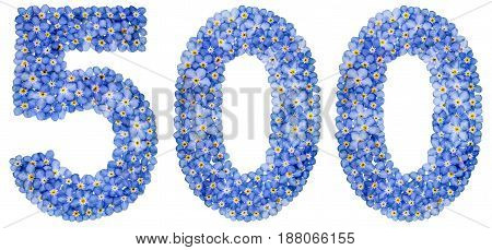 Arabic Numeral 500, Five Hundred, From Blue Forget-me-not Flowers