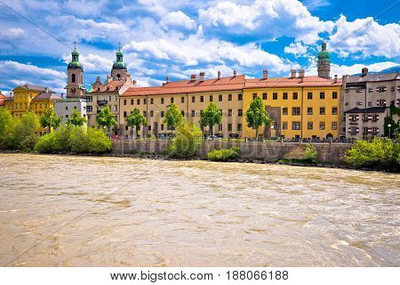 City Of Innsbruck On Inn River Waterfront View