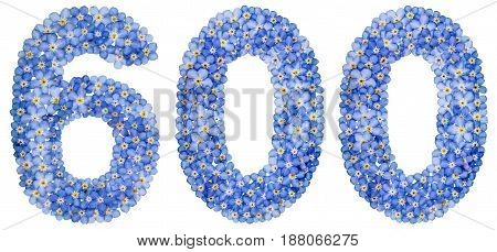 Arabic Numeral 600, Six Hundred, From Blue Forget-me-not Flowers