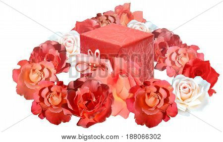 Heart shape made of roses in red and pink tones, with a gift packed in shiny red paper