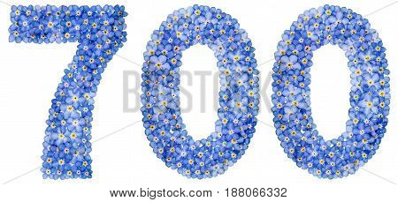 Arabic Numeral 700, Seven Hundred, From Blue Forget-me-not Flowers