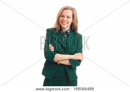 beautiful charming blonde in green jacket worth hands clasped laughs and stares into the camera isolated on white background