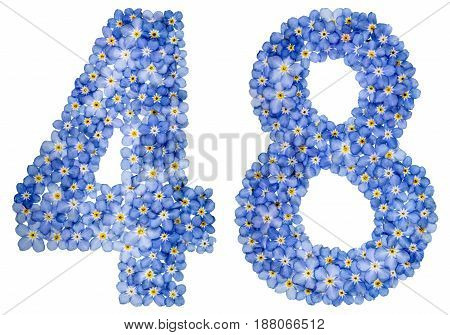 Arabic Numeral 48, Forty Eight, From Blue Forget-me-not Flowers