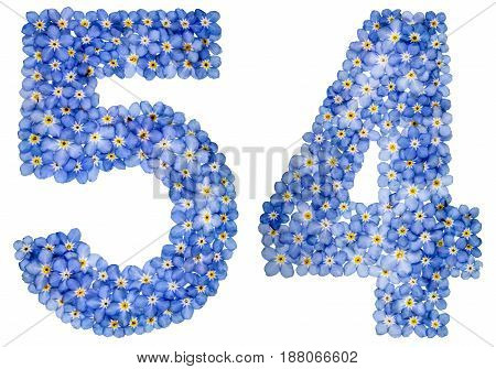Arabic Numeral 54, Fifty Four, From Blue Forget-me-not Flowers