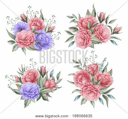 Hand painted watercolor charming combination of Flowers and Leaves, isolated on white background.