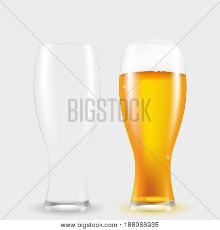 Realistic glass of beer with a fluffy foam. Dishes for alcohol .Vector isolated illustration.