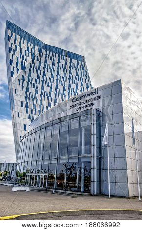 COPENHAGEN, DENMARK - MAY 6, 2017: The 4-star AC Bella Sky Marriott Hotel near Bella Center between the Orestad and Bella metro stations in Copenhagen. Comwell Conference Center. Orestad district.