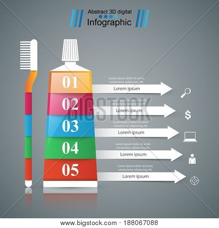 Business Infographics origami style Vector illustration. Toothpaste, brush icon.