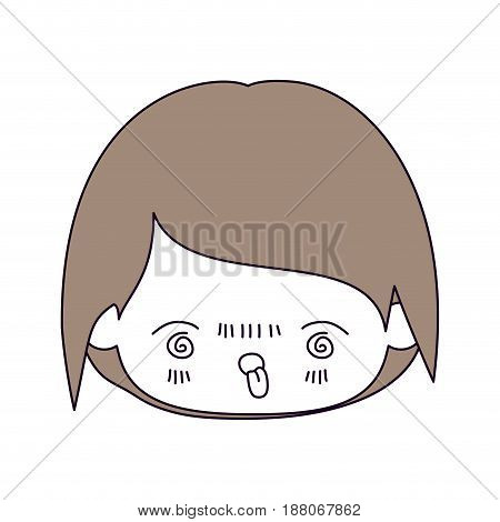 silhouette color sections and light brown hair of kawaii head of little boy with facial expression furious in closeup vector illustration