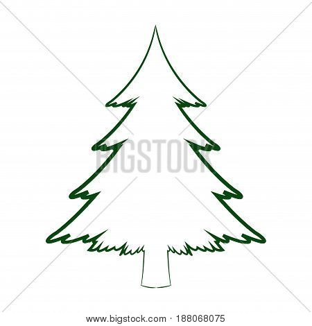 green silhouette pine tree christmas celebration winter vector illustration