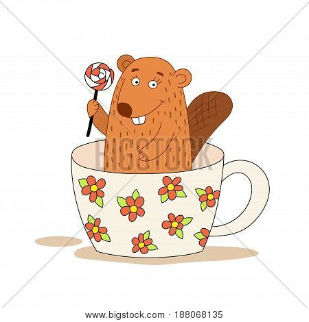 Cute beaver in a cup holding a lollipop. Vector illustration in a hand-drawn style.