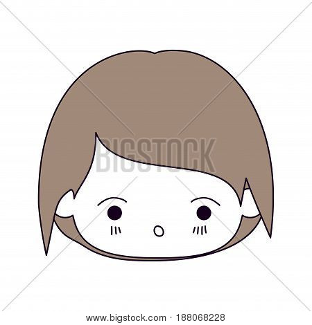 silhouette color sections and light brown hair of kawaii head of little boy with facial expression of surprise vector illustration