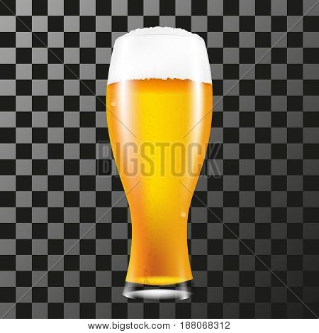 Realistic glass of beer with a fluffy foam. Vector illustration on a transparent background.