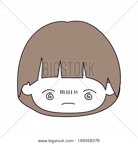 silhouette color sections and light brown hair of kawaii head of little boy with facial expression bored in closeup vector illustration