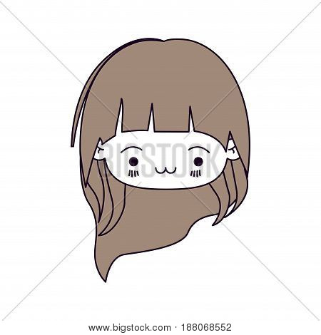 silhouette color sections and light brown hair of kawaii head little girl with long hair and facial expression exhausted vector illustration