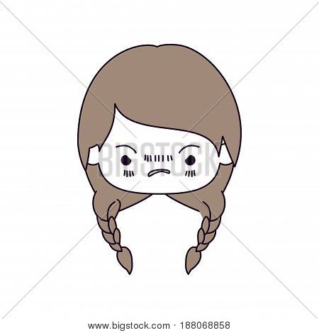 silhouette color sections and light brown hair of kawaii head little girl with braided hair and facial expression angry vector illustration
