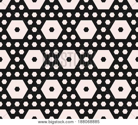Vector monochrome texture, geometric seamless pattern with different sized hexagons perforated shapes honeycombs hexagonal grid. Modern abstract background. Design for home, decor, textile, fabric