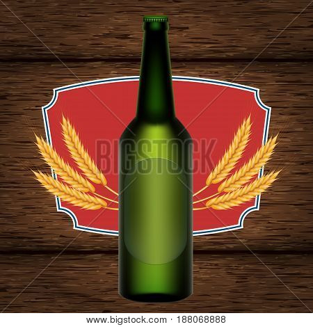 A realistic bottle and a beer. A vector illustration on a background of a wooden table of boards with wheat ears.